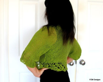 Soft green cardigan sweater, hand knit shrug with crochet edges, luxury knit outerwear