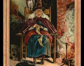 Halloween Witch Miniature Dollhouse Art Picture 6733