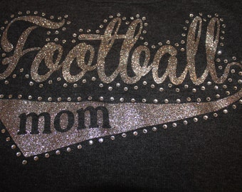 Football Mom Glitter and Bling Tee, Football Mom Shirt, Football Shirt, Football Grandma Shirt, Football Tank, Football Mom Tank, Football