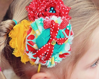 Calliope- red, yellow and aqua ruffle, rosette and chiffon flower headband