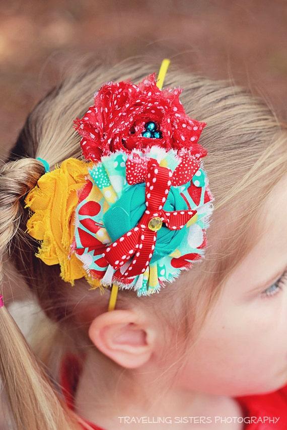 Calliope- red, yellow and aqua ruffle, rosette and chiffon flower headband