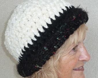 White black crochet winter hat women's fashion bohemian accessories