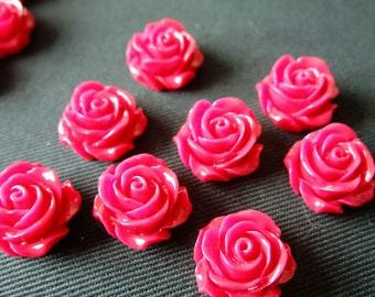 Destash (6) Flower Cameo Cabochon Resin - Hot Pink Rose medium - for pendants, jewelry making, crafts, scrapbooking