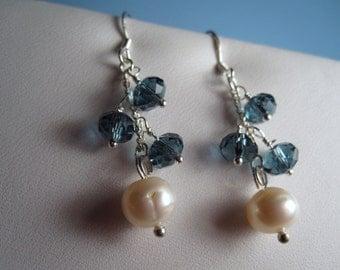 Freshwater Pearl Crystal Earring, Pearl Crystal Earring, Crystal Earring, Sapphire Earring, Pearl, Earring, Crystal, Cluster, Silver, Dangle