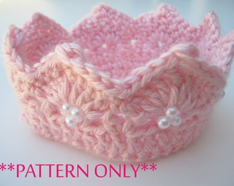Princess Crown Crochet Pattern for Infant and Toddlers Beginner Intermediate Pattern