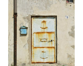 Italy Travel Photography Rustic Village Door Bleached Sky Blue Baby Blue Rusty Anchor Slipknot-Safe Harbour