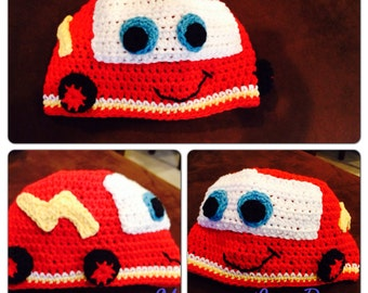 Cars Inspired Lightning McQueen Crochet Beanies