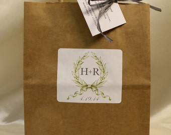 Wedding Welcome Bags Style Hotel Guest Bags with Garland Green and Grey