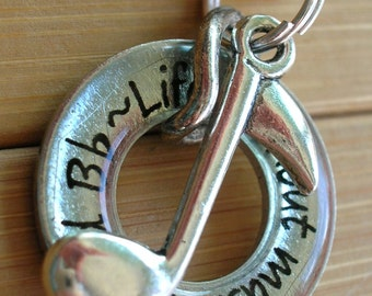 Music pendant  Life without music would be flat....3/16 inch word quote phrase silver washer pendant with chain
