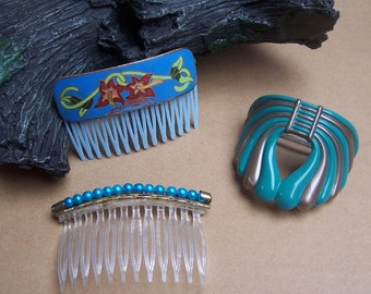 Vintage hair accessories 3 blue hair comb hair barrette pony tail hair slide hair clip hair jewelry hair ornament hair adornment