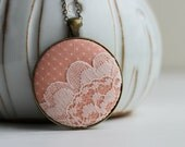 Polka Dots, Peaches, And Cream - Spring Pastel Necklace Orange Peach NecklaceCute Jewelry Orange Pastel Jewelry Pink Lace Necklace