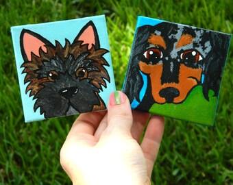 Mini Canvas Pet Portrait - Hand Painted/Custom