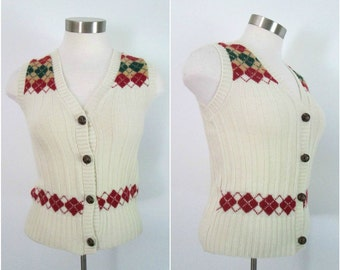 Argyle Sweater Vest Vintage 1970s Button Front Vintage School Girl Preppy Hipster