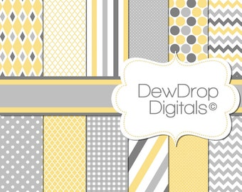 SALE Digital Paper Pack Baby Wedding Yellow Grey Scrapbooking INSTANT DOWNLOAD gray White Scrapbook Papers Kit Baby girl shower chevron