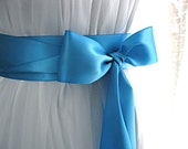 Turquoise blue / Dark aqua / Peacock blue wedding sash, bridal sash, bridesmaid sash, bridal belt, 2.25 inch satin