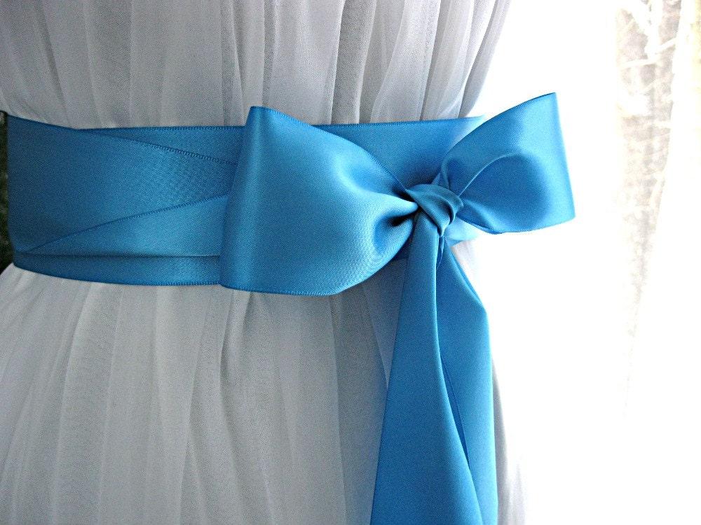 Turquoise blue dark aqua peacock blue wedding sash bridal for Peacock wedding dress sash