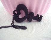 Black Heart Bow Key Necklace