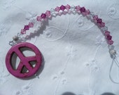 Swarovski Star Sun Catcher with Pink Magnasite Peace Sign