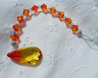 Orange and Yellow Swarovski Crystal Briolette Tear Drop Sun Catcher