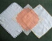 3 Vintage Handkerchiefs Lace Tatting Crochet