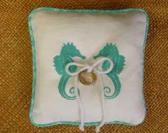 Coastal Wedding White Linen Ring Bearer's Pillow Seahorse Printed in Your Color