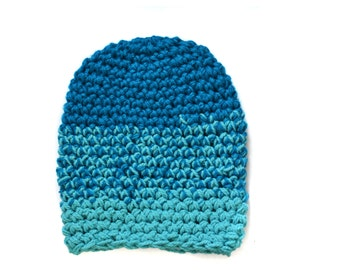 Turquoise Knitted Hat - Aquamarine  - Ombre - Super Soft Beanie - Unisex Knitted Accessory - Winter Hats - Blue Accessory