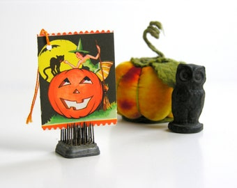 Green Witch Vintage Halloween Bridge Tally Black Cat JOL