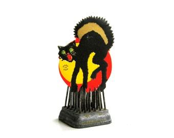 Black Cat Arched Back Halloween Sticker Vintage Gummed Seal