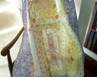 Lilac throw, Baby Crib Quilt or wall hanging with  floral pastel colors