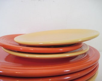 vintage fiesta YELLOW and ORANGE RED - Homer Laughlin, set of 3 - bread and butter plates, appetizers, saucers, fiestaware, dinnerware