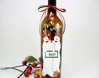 Halloween Lighted Wine Bottle Boos Brothers Pumpkin Lighted Wine Bottle Hand Painted 750 ml