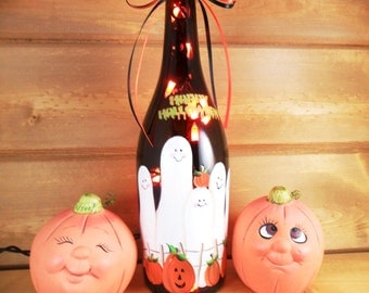 Lighted Wine Bottle Halloween Ghost Family Pumpkins Hand Painted 750 ml