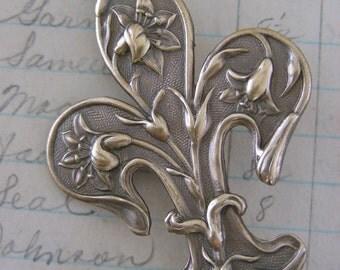 Vintage Brooch - Fleur De Lis Jewelry - Vintage Brass - handmade jewelry