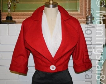 Red Wool Niagara Jacket-Pinup Rockabilly Cropped Coat-Custom Made to Order