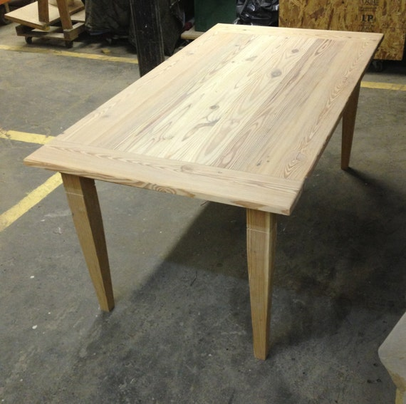 Reclaimed Wood Farm Table With Tapered Wood Legs