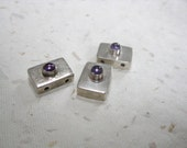 Three Sterling and Amethyst Rectangular Beads