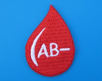 Iron-on Embroidered Patch Blood Type (option A, B, AB, O negative) 2 inch
