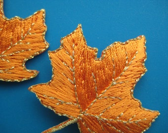 2 pcs Iron-on Patch Maple Leaf 2.25 inch