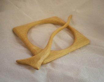 Shawl Pin Yellowheart Wood geometric and curvy hand carved