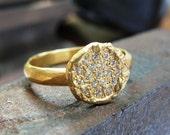 Diamonds Ring - Engagement Ring - Gold Engagement Ring -  Handmade Engagement Ring-  18k Gold and White Diamonds Ring