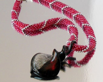 Christmas  Gift rope Necklace crochet Murano Lampwork Glass  Bicolor Knob Heart red silver beaded Pendant knitting with beads