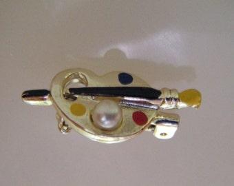 Vintage Artist Palette Brooch/Pin