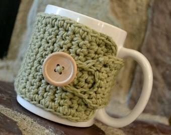 Coffee Cozy in Light Sage Green, Tea Cozy, Coffee Accessories, Coffee Gift, Hostess Gift, Coffee Lovers Gift, Teachers Gift, Coffee Cup Cozy