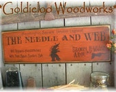 The Needle and Web, Halloween, Primitve, Folkart, Wall Sign