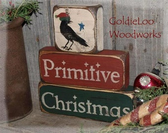 Primitive, Folk Art, Crow, Primitive Christmas, Block Chunkies