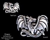 Dragon Lapel Pin or Dragon Brooch Sterling Silver