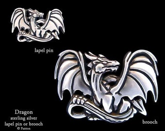 Dragon Lapel Pin or Dragon Brooch Sterling Silver