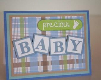 Baby Boy Card-  Precious Baby on Plaid