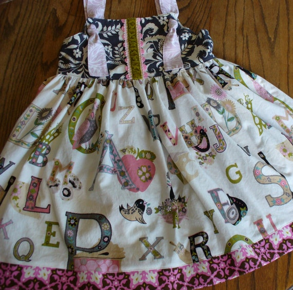 Girls Dress, Girls Back to School Dress, Girls ABC Dress, Girls Knot Dress, Size 12MO,18MO-24MO,2T,3T