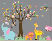 Vinyl Wall Decal  Jungle Safari Tree Monkeys Elephant Giraffe Vinyl Wall Art Decals Nursery Kids Boy girl